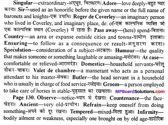 MP Board Class 11th English A Voyage Solutions Chapter 17 Sir Roger at Home 1