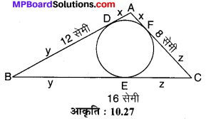 MP Board Class 10th Maths Solutions Chapter 10 वृत्त Additional Questions 11