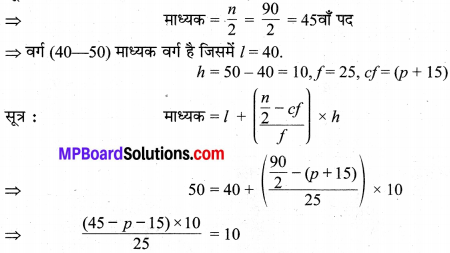 MP Board Class 10th Maths Solutions Chapter 14 सांख्यिकी Additional Questions 9
