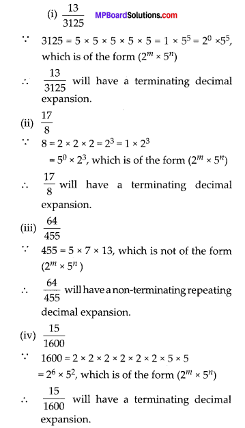 MP Board Class 10th Maths Solutions Chapter 1 Real Numbers Ex 1.4 3