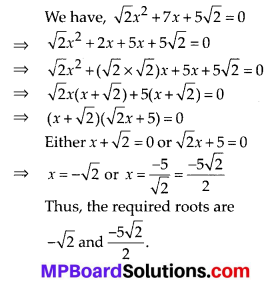 MP Board Class 10th Maths Solutions Chapter 4 Quadratic Equations Ex 4.2 1