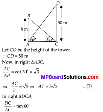 MP Board Class 10th Maths Solutions Chapter 9 Some Applications of Trigonometry Ex 9.1 11