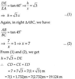 MP Board Class 10th Maths Solutions Chapter 9 Some Applications of Trigonometry Ex 9.1 18