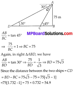 MP Board Class 10th Maths Solutions Chapter 9 Some Applications of Trigonometry Ex 9.1 19