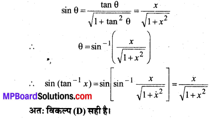 MP Board Class 12th Maths Book Solutions Chapter 2 प्रतिलोम त्रिकोणमितीय फलन विविध प्रश्नावली 28