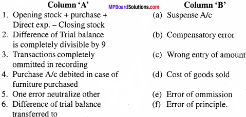 MP Board Class 11th Accountancy Important Questions Chapter 9 Trial Balance