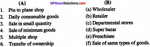 MP Board Class 11th Business Studies Important Questions Chapter 10 Internal Trade 1