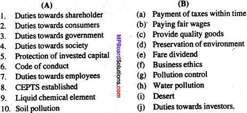 MP Board Class 11th Business Studies Important Questions Chapter 6 Social Responsibility of Business and Business Ethics 1
