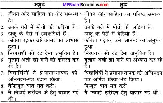 MP Board Class 11th General Hindi व्याकरण वाक्य अशुद्धि संशोधन img-3