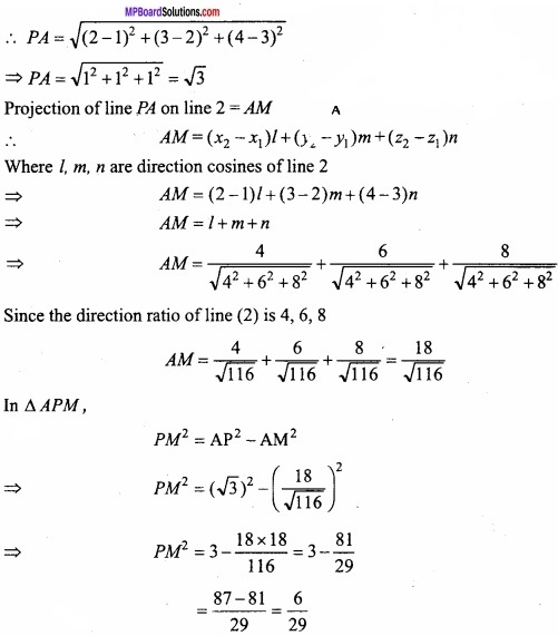 MP Board Class 12th Maths Important Questions Chapter 11 Three Dimensional Geometry IMG 27a