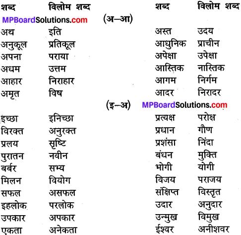 MP Board Class 10th General Hindi व्याकरण विलोम या विपरीतार्थी शब्द img-1