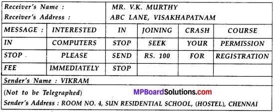 MP Board Class 10th Special English Telegram Writing 5