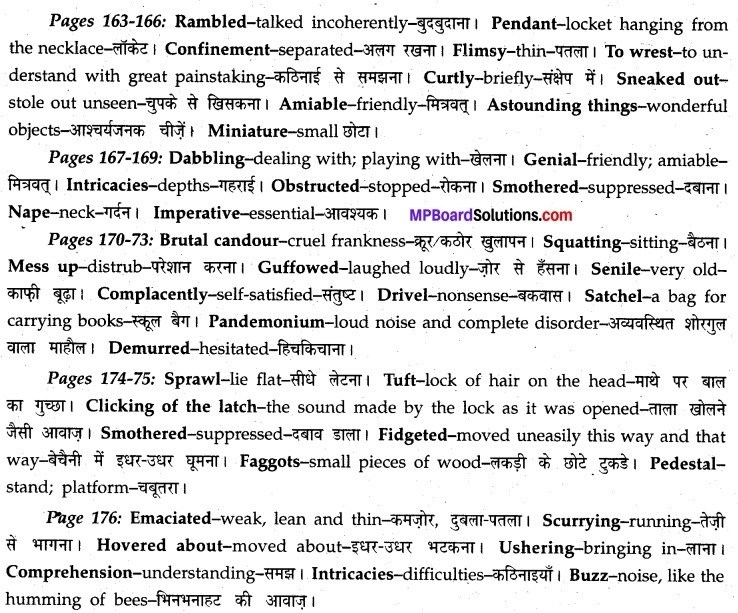 Swami And Friends Question Answer MP Board Class 12th English A Voyage Solutions Chapter 20